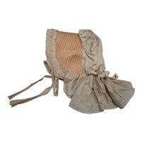 Late 19th c. Cotton and Straw Bonnet