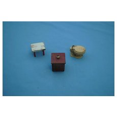3 Dollhouse Items, Early 20th c.