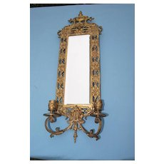 Circa 1900  Brass Sconce With Beveled Mirror