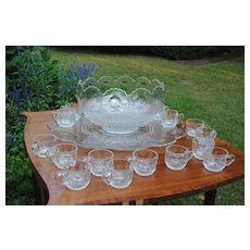 Large and Lovely Glass Punch Bowl Set, Late 19th or Early 20th c.