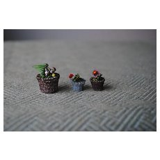3 Charming Miniature Glass Flowerpots......With Glass Flowers