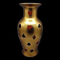 Porcelain Vase W/Playing Card Suit Symbols