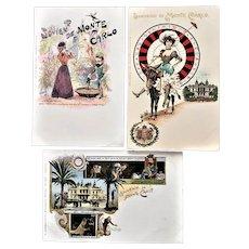 Three Monte Carlo Casino Souvenir Postcards