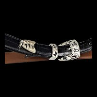 Leather Belt W/ Playing Card Buckle