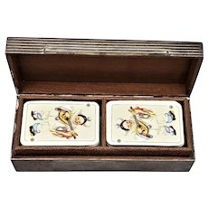 Miniature Double Deck of FX Schmid Playing Cards in Sterling Silver Box