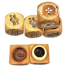 5 Molinard Wood Perfume Poker Advertising Dice - Mid 20th C.