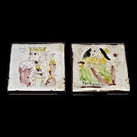 Pair of King & Queen Tiles with Playing Cards