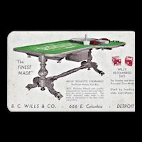 B.C. Wills & Co. - Large Trade Card - Detroit - Ca.1950