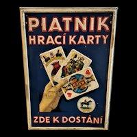 Embossed Tin Piatnik Playing Card Sign