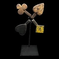 4 Cast Iron Carnival Shooting Targets - Clubs, Diamonds, Hearts, Spades - Playing Cards - Ca.1900
