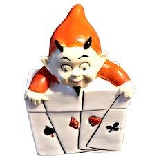 Porcelain Devil/Imp Playing Card Holder - German
