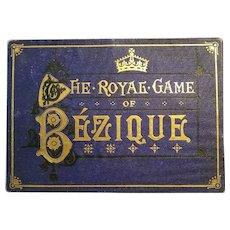 Bezique Set of Four Decks, Four Score Cards and Original Box - Charles Goodall - London - Ca. 1900