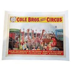 Cole Bros. Circus Poster - ca.1940