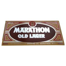 Marathon Beer Reverse Glass Sign - Ca.1950