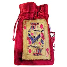 Velvet Jewelry Bag with Beaded Jack of Diamonds Playing Card