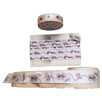 Three Silk Ribbons with Playing Card Images - Whist & Bridge
