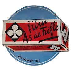 """Double Sided Porcelain French Die Cut Sign Advertising a Brand of Film """"As De Treffle"""" Ace of Clubs"""