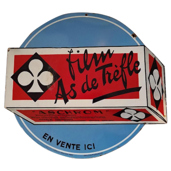 "Double Sided Porcelain French Die Cut Sign Advertising a Brand of Film ""As De Treffle"" Ace of Clubs"