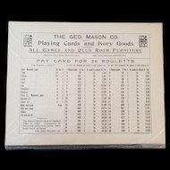 Original Geo. Mason & Co. Pay Card for 36 Roulette - Ca. 1920