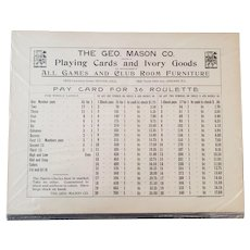 Original Geo. Mason & Co. Pay Card for 36 Roulette - Ca. 1920