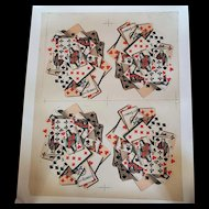 Uncut Lithographed Sheet of B.P. Grimaud Playing Cards printed 4 up and laid on Linen. Ca. 1890
