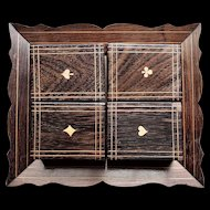Set of 4 Wood Boxes with Gambling Chips and Playing Cards on a Wood Tray
