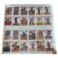 Uncut Sheet of 24 Czechoslovakian Hofamterspiel Playing Cards