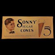 Sonny Sugar Cones Paper Advertisement. Ca. 1925
