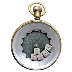 Gambling Pocket Watch with Five Poker Dice. Ca. 1900
