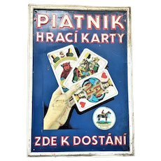 Embossed Tin Sign Advertising Piatnik Playing Cards. Ca. 1900