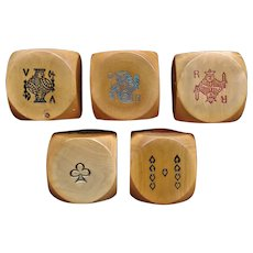 Five large bakelite round corner poker dice from France - ca. 1940