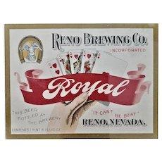 "Reno Brewing Company ""Royal"" Beer Label - Ca. 1900 - Playing Cards"