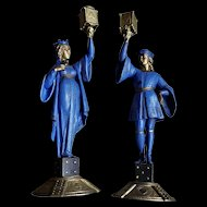 Pair of Highly Decorative King & Queen Candlestick Holders