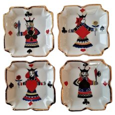 Set of Four Playing Card Porcelain Ash Trays