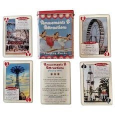 """Deck of """"Amusement Park & Attractions"""" playing cards in tin case - Inkstone Products - 2007"""