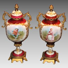 Pair of 19th Century Sevres or Sevres Style Urns