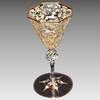 Salviati - Moser Canine and Foliate Goblet
