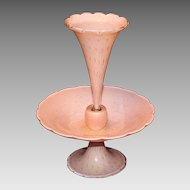 Pretty Murano Single Horn Epergne - Pink With Gold Flecks