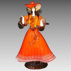 Mid-Century Venetian Glass Woman Figure in Orange Dress