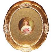 Miniature Portrait of Young Woman Signed Leslie Johnson
