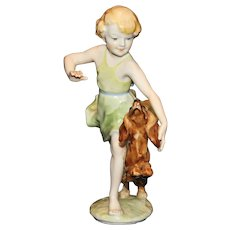 Vintage Rosenthal Germany Figurine Girl Playing With Dog