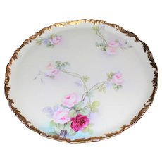 "T&V Limoges Artist Signed Roses 18"" Charger Plaque TRay"