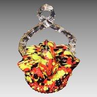 Czechoslovakia End of the Day Art Glass Thorn Handle Basket