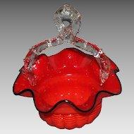 Czechoslovakian Thorn Handle Red Basket