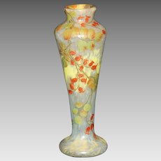 French Cameo Glass Vase SIgned Gauthier