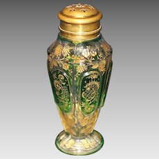 Moser Green Cabochon Gold Enameled Sugar Shaker