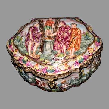 "Beautiful 19th Century Capodimonte 8"" Box or Casket"