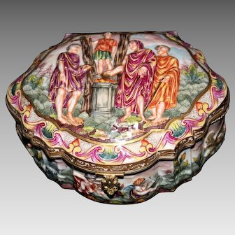 "Beautiful 19th Century Capodimonte 8"" Box or Casket"