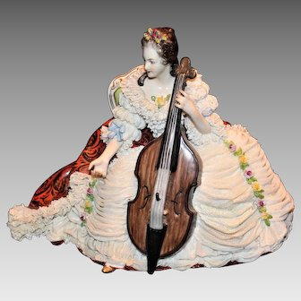 Voldstedt Dresden Lace Lady Cello Player