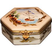Hand Painted French Sevres Box with Sailing Ship
